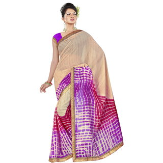 RK FASHIONS Purple Georgette Party Wear Printed Saree With Unstitched Blouse - RK236792
