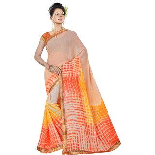 RK FASHIONS orange Georgette Party Wear Printed Saree With Unstitched Blouse - RK236802