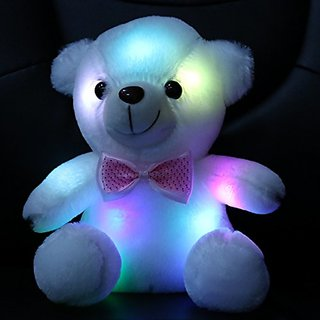 Wewill Stuffed Teddy Bear Toy with LED Night Light, 8-Inch, White