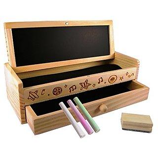 TukTek Kids First Chalkboard & Wooden Pencil Box Art School Kit w Chalk & Mini Eraser