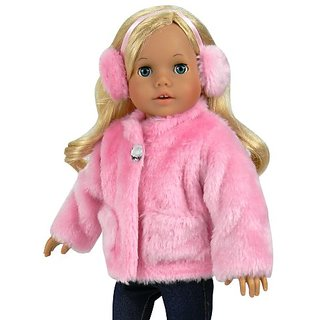 18 Inch Doll Clothes Pink Fur Coat & Earmuff Headband fits 18 Inch American Girl Dolls & More, Jeweled Fur Coat in Pink