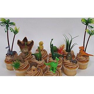 Disney The GOOD DINOSAUR Birthday CUPCAKE Topper Set Featuring Spot, Arlo, Thunderclap, Butch, Bubbha, Forrest Woodbush