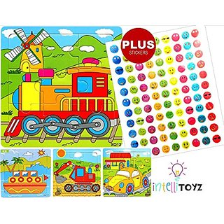 INTELLITOYZ Set of 4: 9 Piece Colorful Wooden Educational Puzzles with BONUS set of stickers. Includes Train, Tractor, C