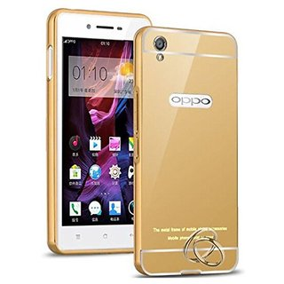 ITbEST Oppo A37 Back Cover, Golden Acrylic Mirror Back Cover Case with Bumper Case for