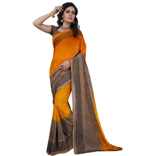 RK FASHIONS Orange Faux Georgette Party Wear Printed Saree With Unstitched Blouse - RK214402