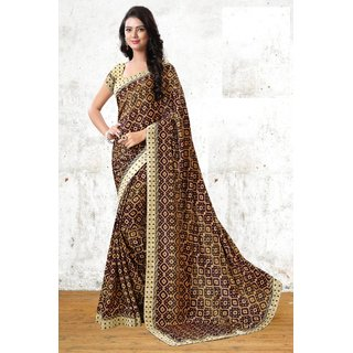RK FASHIONS Brown Turkey Silk Party Wear Printed Saree With Unstitched Blouse - RK231022