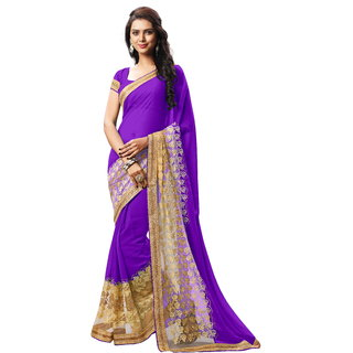 RK FASHIONS Blue Faux Georgette Party Wear Printed Saree With Unstitched Blouse - RK232882