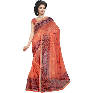 RK FASHIONS Orange Georgette Party Wear Printed Saree With Unstitched Blouse - RK235242