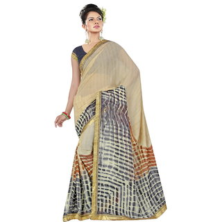 RK FASHIONS Grey Georgette Party Wear Printed Saree With Unstitched Blouse - RK236842