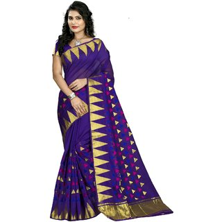 RK FASHIONS Blue Cotton Silk Party Wear Printed Saree With Unstitched Blouse - RK219942