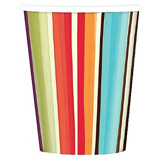 Amscan Disposable Paper Cups in Stylish Stripes Print (8 Pack), 9 oz, Multicolor