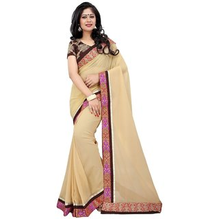 RK FASHIONS Mustard Georgette Party Wear Printed Saree With Unstitched Blouse - RK214882