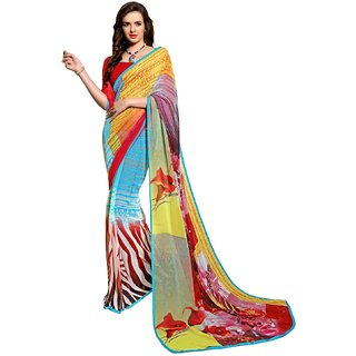 RK FASHIONS Green Faux Georgette Party Wear Printed Saree With Unstitched Blouse - RK215132