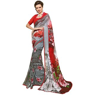 RK FASHIONS Grey Faux Georgette Party Wear Printed Saree With Unstitched Blouse - RK215162