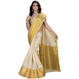 RK FASHIONS Gold Cotton Silk Party Wear Printed Saree With Unstitched Blouse - RK216032