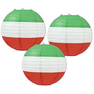Beistle Paper Lanterns, 9 1 2-Inch, Red White Green