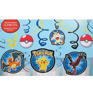 Pokemon Pikachu and Friends Hanging Swirl Decorations (12pc)