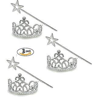 Princess Tiara & Wand Set - Princess Dress Up (3 Pack) Funny Party Hats