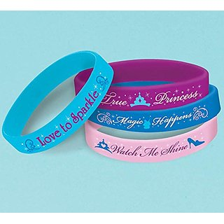 Disney Cinderella Rubber Bracelet Birthday Party Accessory Favour (4 Pack), Multi Color, 2 1 2