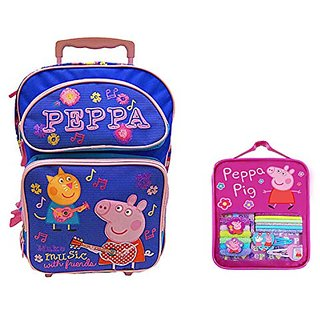 Peppa Pig Girls Roiling Backpack 16 with Peppa Pig Hair Accessories Gift Set (Periwinkle)