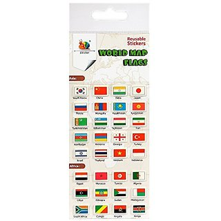 world map flags reusable puffy stickers-reusable, may be used on plastic, paper, glass, wood, metal-perfect for your tr