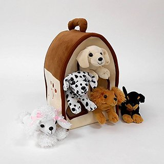 Plush Dog House -Five (5) Stuffed Animal Dogs (Dalmation, Yellow Lab, Rottweiler, Poodle, Cocker Spaniel) in Play Dog Ho