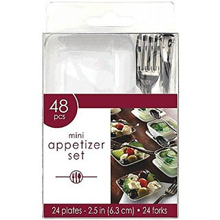 Amscan Mini Appetizer Party Set Perfect Tableware and Cutleries (48 Piece), White Clear