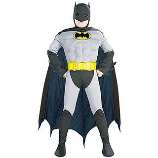 Muscle Chest Batman Halloween Costume-Medium Size (8-10)