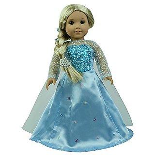 CNACCASU Elsa Shiny Princess Dress 3pc Jacket Skirt Cloak Outfit for 18 Inch American Girl Doll Clothes(FBA)