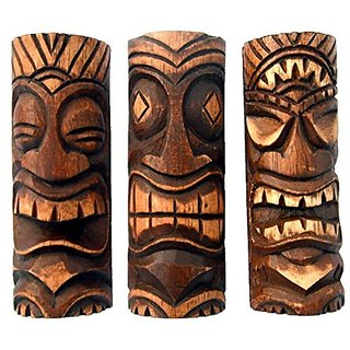 Set 3 6 Inch Tiki Statues - Tiki Bar Decor