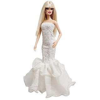 Barbie White Multitextured Lace Strapless Gown with Pearl