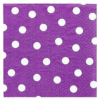 Amscan Decorative Plum Watercolor Dot Party Beverage Paper Napkins (16 Pack), 5 x 5