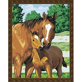 Diy oil painting, paint by number kit- Horses snuggle 1620 inch.