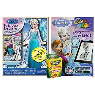 Disney Frozen Toys Set- Elsa Wooden Magnetic Dress Up Dolls, Coloring Pages Book, with Crayola Crayons