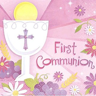 Amscan First Communion Lunch Religions Party Disposable Napkins (36 Piece), Pink, 6.5