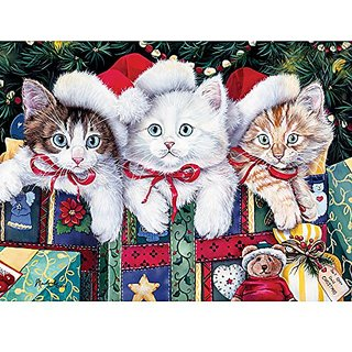 Bits and Pieces - 1000 Piece Jigsaw Puzzle - Meowy Christmas, Cat, Christmas - by Artist Jenny Newland - 1000 pc Jigsaw