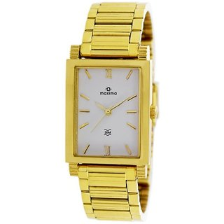 Maxima Quartz White Rectangle Men Watch 38191CMGY