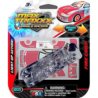 Max Traxxx Fire Chief Light Up Marble Tracer Racer Gravity Drive Car
