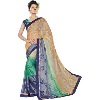 RK FASHIONS Green Brasso Party Wear Printed Saree With Unstitched Blouse - RK233432