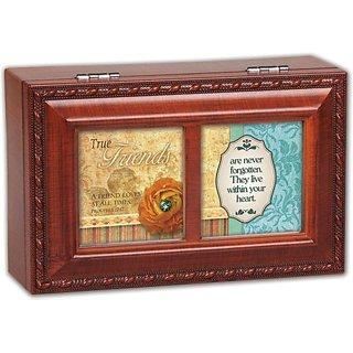 Cottage Garden True Friends Woodgrain Petite Music Box Jewelry Box Plays Friend In Jesus