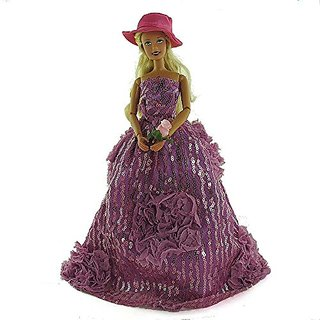 co2CREA(TM) Brand New Violet Fashion Gown Clothes Dresses Mini Cute Outfit for 29cm Barbie Doll (11 1 2 inch scale 1:6)