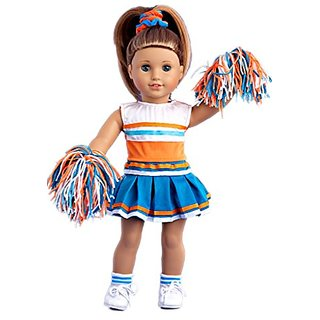 Cheerleader - 6 piece cheerleader outfit - blouse, skirt, headband, pompons, socks and shoes - 18 inch Doll Clothes (dol