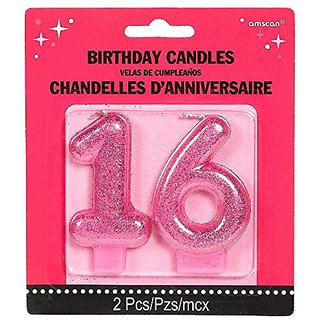 Chic Sweet Sixteen Celebration Molded Glitter Number 16 Birthday Candle Party Supply (2 Pack), Magenta, 3