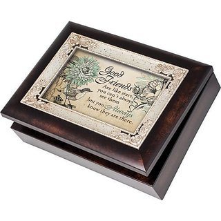 Cottage Garden Good Friends Friendship Burlwood With Silver Inlay Italian Style Music Jewelry Box