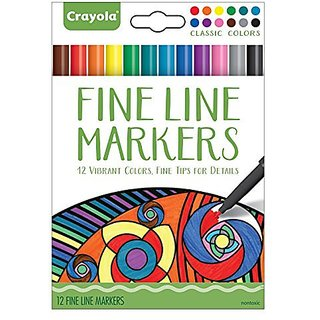 FINE LINE MARKERS ARE BEST FOR DETAIL COLORING-12 Long-Lasting Brilliant Colors in Red, Orange, Yellow, Green, Teal, Ce