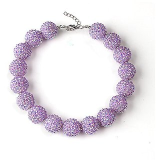 Bouren Baby Purple Chunky Bubblegum Bead Necklace for Girls