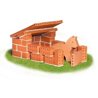 Make a home for your favorite horses with over 35 real, reusable terracotta brick pieces for building-Building kits are