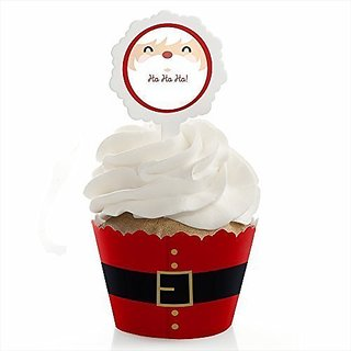 Jolly Santa - Christmas Party Cupcake Wrapper & Cupcake Pick Christmas Party Kit - Set of 24