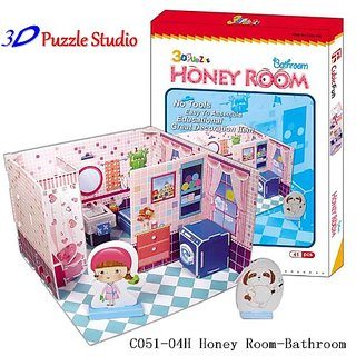 3D Puzzle Honey Room Bathroom. Cute for Kids, fun & educational.