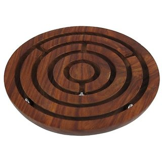 Handcrafted Wooden Labyrinth Ball Maze Board Game - Unique Games for Kids - Travel Toys for Children - Dia 6